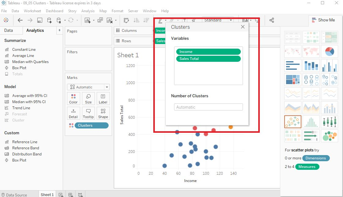 Tableau Data clusters in Scatter plots Step 3